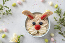 Funny Bunny Oatmeal Bowl With Fruits, For Kids Easter Breakfast