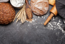 Various Bread With Wheat, Flou...