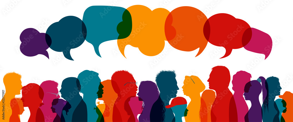 Crowd talking.Dialogue group of diverse people.Communication multiethnic people.Group of families.Sharing information and ideas.Silhouette.Speak discussion.Globalization.Speech bubble