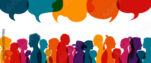 Fototapety, obrazy: Dialogue group of diverse people.Group of families.Communication multiethnic people. Crowd talking.Sharing information and ideas.Silhouette.Speak discussion.Globalization.Speech bubble