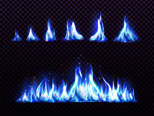 Realistic Blue Fire Set For An...