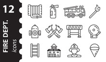 Firefighter Icons In Vector. Fire Department Symbol In Modern Flat Style. Set Of Fire Station Signs Linear, Isolated On A White Background.