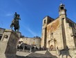 Trujillo square, statue and cathedral, Extremadura Spain