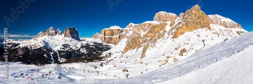 Fototapeta Dolomity superski mountain resort with torri del sella, piz boe and sella ronda,