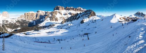 Fotografie, Obraz Dolomity superski mountain resort with torri del sella, piz boe and sella ronda,
