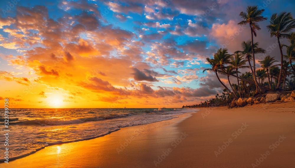 Fototapeta Landscape of paradise tropical island beach