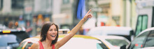 Hailing A Taxi Cab Ride In New...