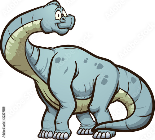 Cartoon brachiosaurus standing and looking at camera. Vector clip art illustration with simple gradients. All in a single layer.