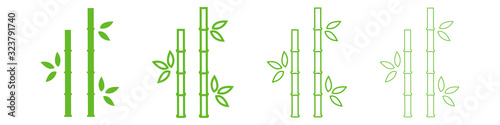 Bamboo icon with different stroke thickness. Logo. Vector illustration