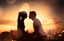 Romantic Young Couple Kissing ...