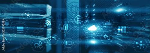 Fototapeta Manufacturing wireless computing future technology server room. Industry technology concept. Mixed Media virtual screen obraz