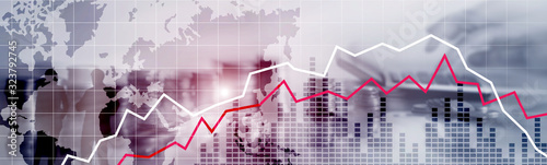Fotomural Red and White Stock Market Graph. Web header or banner.