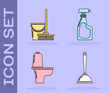 Set Toilet plunger, Mop and bucket , Toilet bowl and Cleaning spray bottle with detergent liquid icon. Vector