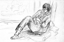 A Rough Sketch Of A Female Figure In Clothes. The Girl With Glasses Sits On The Couch With Crossed Legs And Knits. Pencil Drawing On White Paper.
