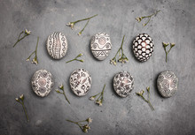 Creative Trendy Painted Marker Easter Eggs On Grey Background. Easter Ideas. Copy Space For Text. Minimalism. Background With Easter Eggs.