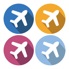 White Aircraft Icon In Flat Design. Vector Illustration. Symbol Of The Aircraft With Long Shadow On Colour Rounds.