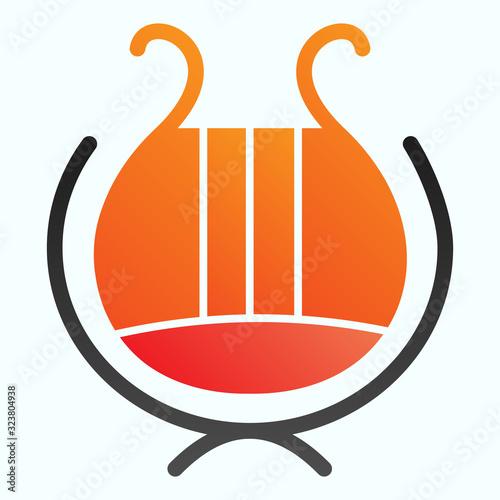 Photo Greek lyre instrument flat icon