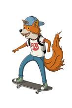 Teenage Fox Riding A Skateboard