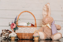 Easter Basket With Decorated E...