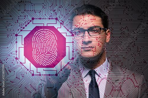 Biometrics security access concept with fingerprint