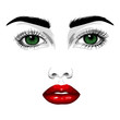 Fashion illustration. Beautiful face of a woman with green eyes, red lips, long eyelashes. Vector EPS 10.