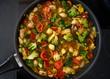 Frische Gemüsepfanne Hähnchenpfanne Thai Hühnchen