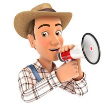 3d Farmer Talking Into Megaphone