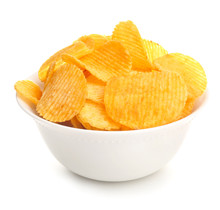 Bowl With Tasty Potato Chips O...