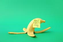 Banana Peel On Color Backgroun...