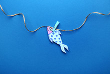 Paper Fish On Color Background...
