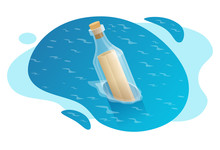 Isometric Bottle With A Message In Water.