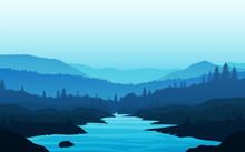 Mountains Lake Landscape Silho...