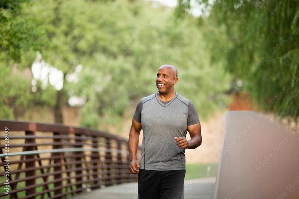Fototapeta Portrait of a fit mature African American man