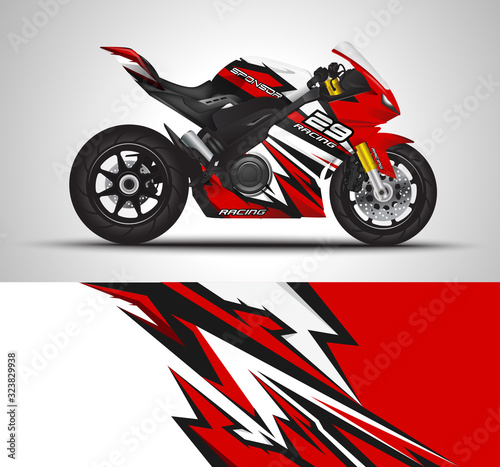Motorcycle wrap decal and vinyl sticker design. Concept graphic abstract background for wrapping vehicles, motorsport, Sport bike, motocross, supermoto and livery. Vector illustration. Wall mural