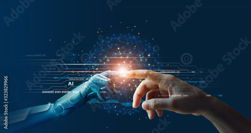 Carta da parati AI, Machine learning, Hands of robot and human touching on big data network connection background, Science and artificial intelligence technology, innovation and futuristic
