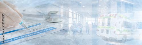 Obraz Ambulance Health insurance Abstract Banner in blue at hospital - fototapety do salonu