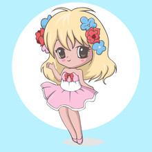 Cute Kawaii Little Girl Waving