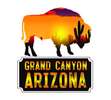 Vector Drawing Of A Bison On A Background Of A Desert Sunset. For The Design Of Postcards And Posters.