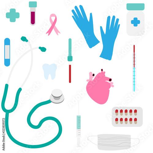Fototapeta Medicine items: tablets, stethoscope, thermometer, pipette, syringe, adhesive plaster, flask, tooth, gauze bandage, surgical gloves seamless pattern. Vector illustration obraz na płótnie