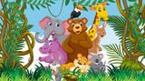 Fototapeta Fototapety na ścianę do pokoju dziecięcego - Scene with many wild animals in the forest