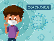 Poster Design For Coronavirus With Boy Wearing Mask