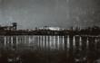 Night Krasnoyarsk, black and white photo