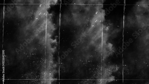 Fototapeta Vintage old scratched grunge overlays on isolated black background space for text. obraz