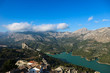 Panoramic view to beautiful azure Guadalest reservoir lake surrounded by mountains from the castle, Spain