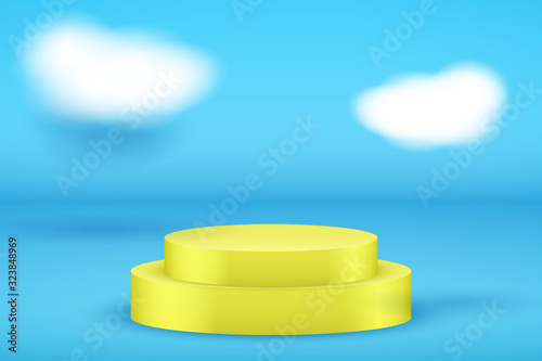 Yellow Presentation platform on blue backdrop with clouds Canvas Print