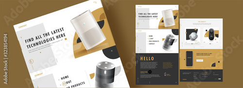 Fototapeta Web Template Design with Realistic Electronic Products and Details for Advertising Concept. obraz