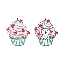 Cupcake And Kitten. Cute Illustration Of A Creamy Cupcake Decorated With Hearts And A Little White Kitten Sitting In A Cupcake. Objects Isolated On White. Vector 8 EPS.