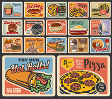 Fast Food Restaurant Vector Burgers, Desserts And Drinks. Retro Posters Of Pizza, Hamburger And Hot Dog, Fries, Donut And Coffee, Chicken Nuggets, Sandwich And Cheeseburger, Ice Cream, Popcorn, Chips
