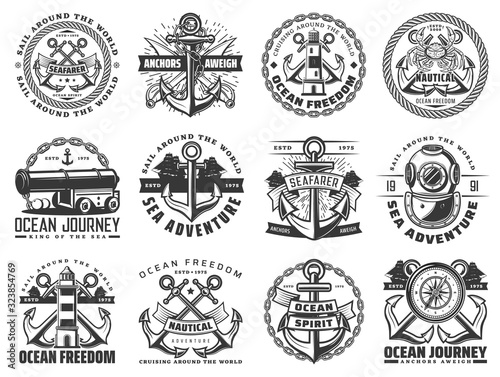Fotografiet Sea travel ship and nautical anchor vector icons with sail boat ropes, chains and marine compasses, lighthouse, vintage diving helmet and naval cannon