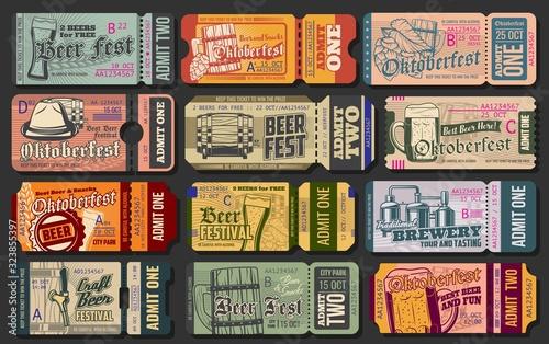 Cuadros en Lienzo Oktoberfest ticket vector templates of beer festival entrance pass design